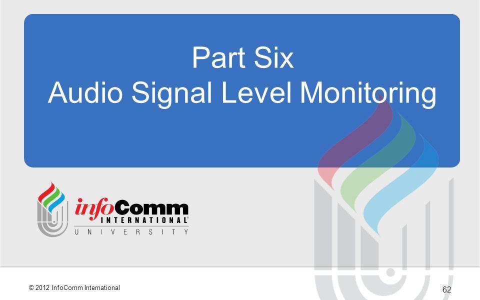 Part Six Audio Signal Level Monitoring