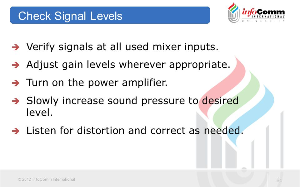 Check Signal Levels Verify signals at all used mixer inputs.