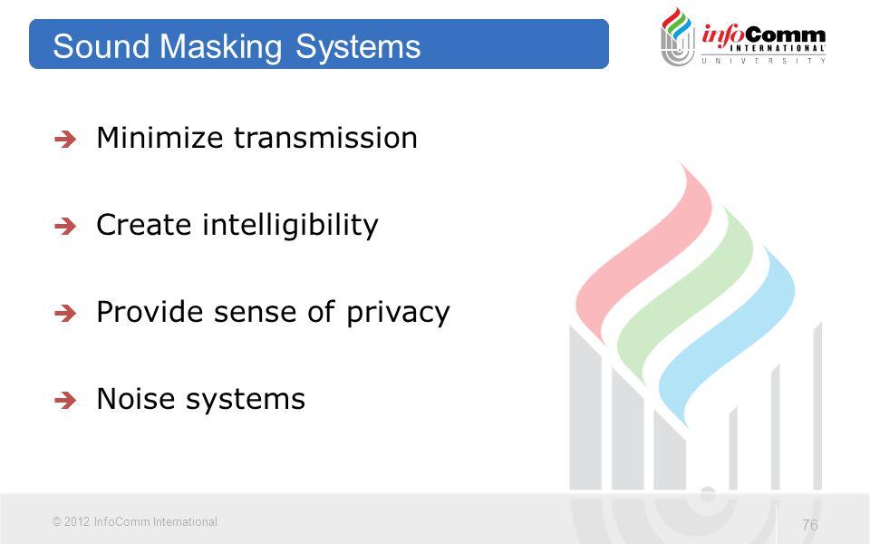 Sound Masking Systems Minimize transmission Create intelligibility