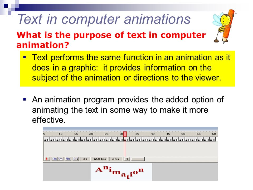 Text in computer animations