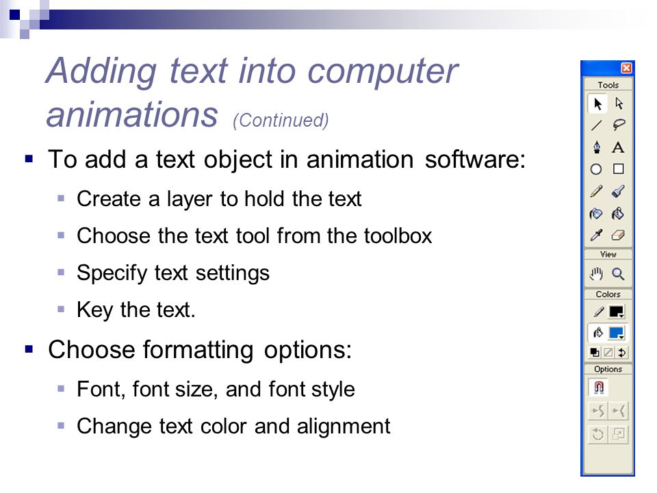 Adding text into computer animations (Continued)