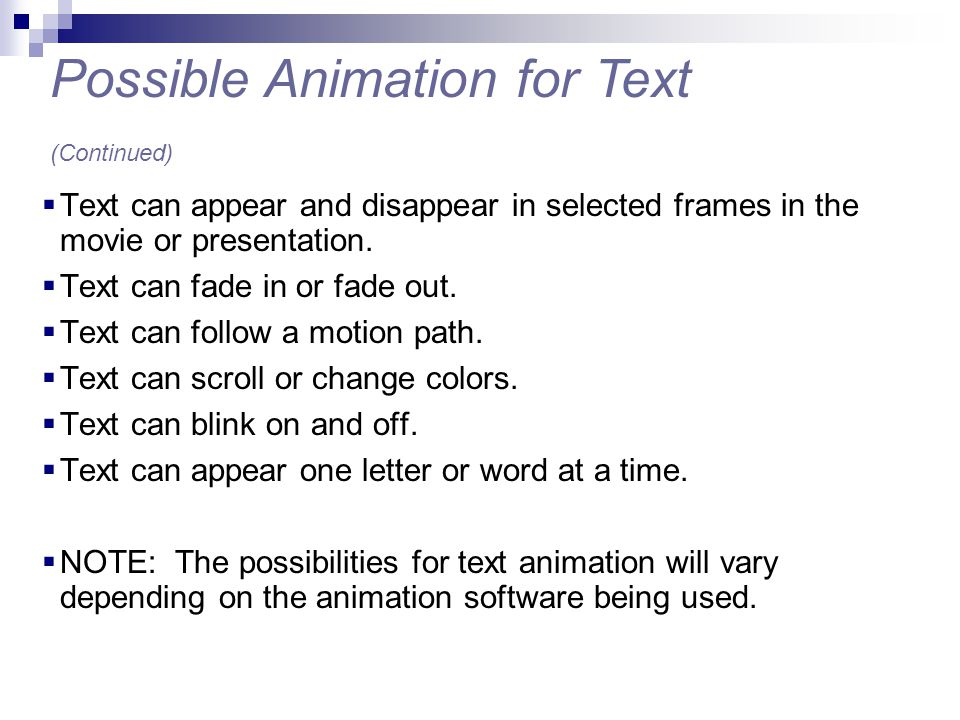 Possible Animation for Text (Continued)