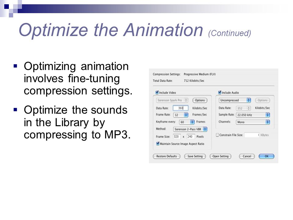 Optimize the Animation (Continued)