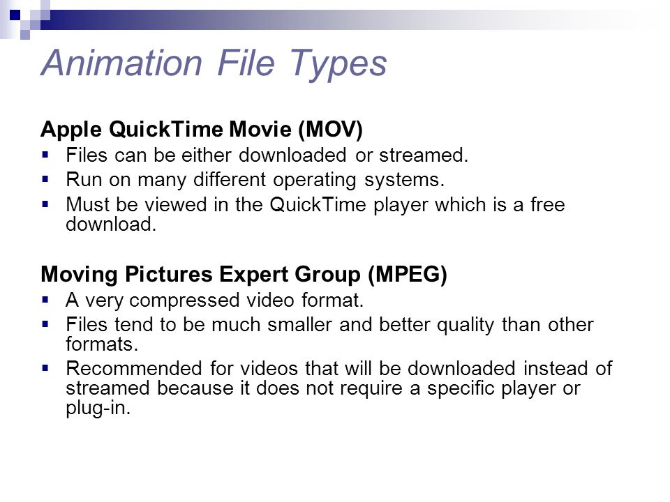 Animation File Types Apple QuickTime Movie (MOV)