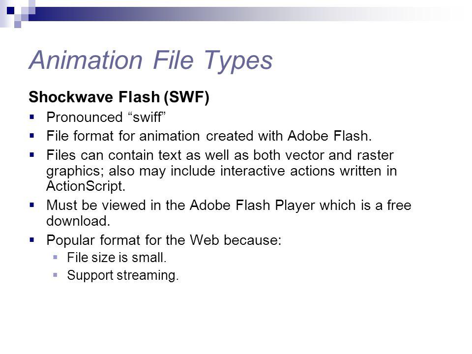 Animation File Types Shockwave Flash (SWF) Pronounced swiff
