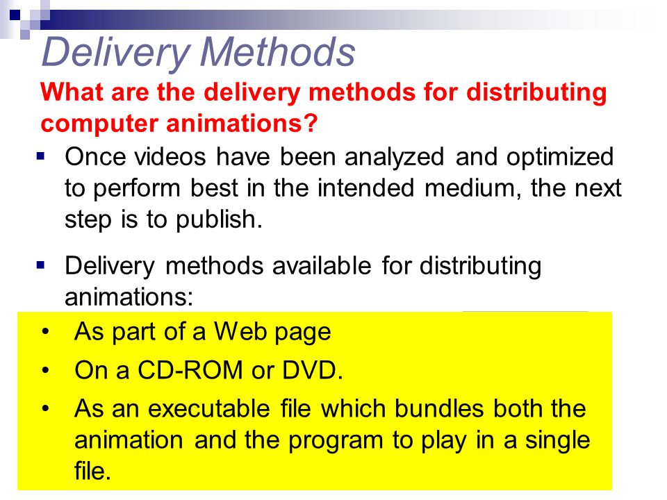 Delivery Methods What are the delivery methods for distributing computer animations