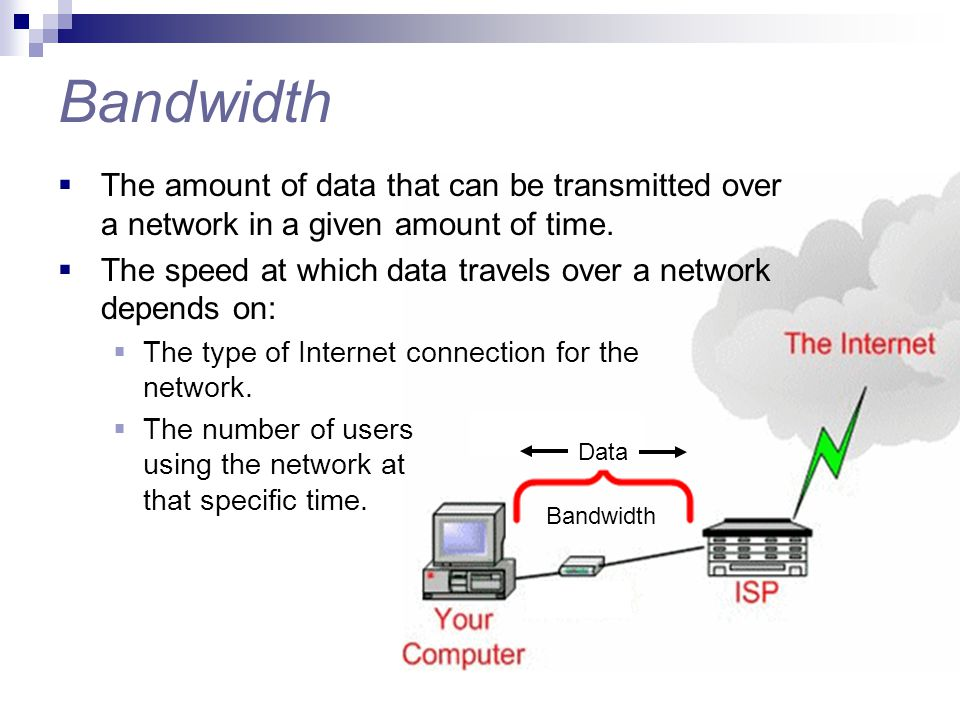 Bandwidth The amount of data that can be transmitted over a network in a given amount of time.