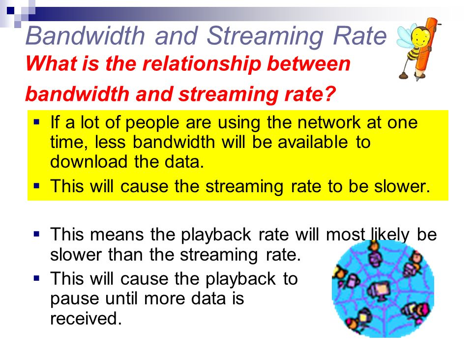Bandwidth and Streaming Rate What is the relationship between bandwidth and streaming rate
