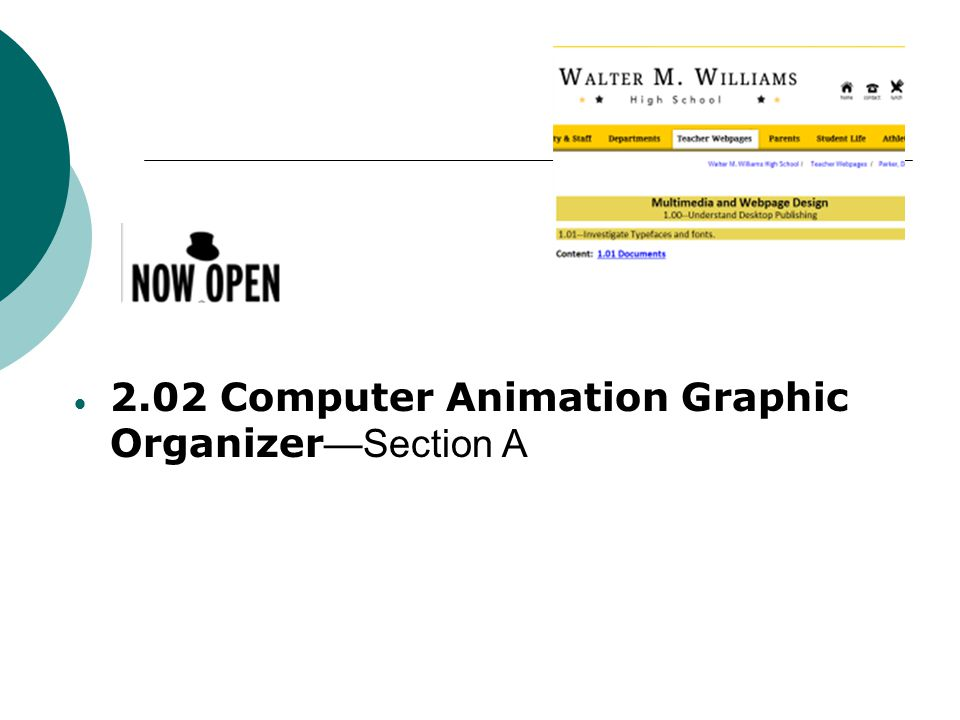 2.02 Computer Animation Graphic Organizer—Section A