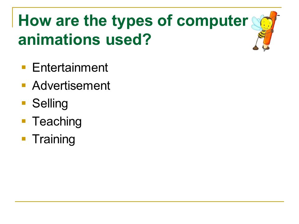 How are the types of computer animations used