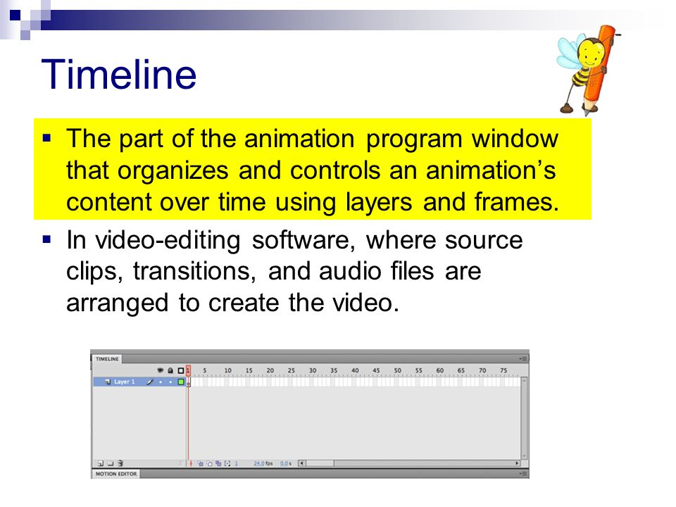 Timeline The part of the animation program window that organizes and controls an animation's content over time using layers and frames.