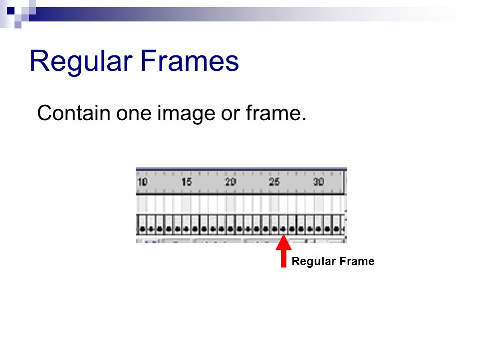 Regular Frames Contain one image or frame. Regular Frame