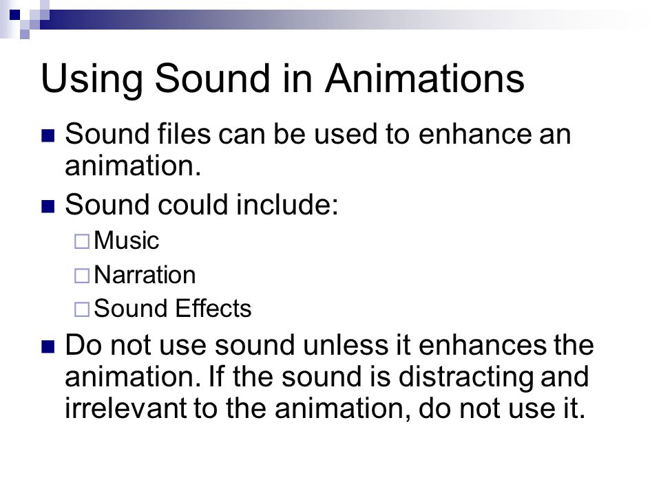 Using Sound in Animations