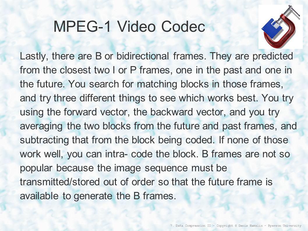 MPEG-1 Video Codec