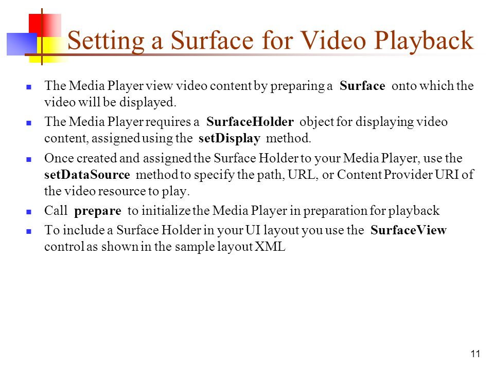 Setting a Surface for Video Playback