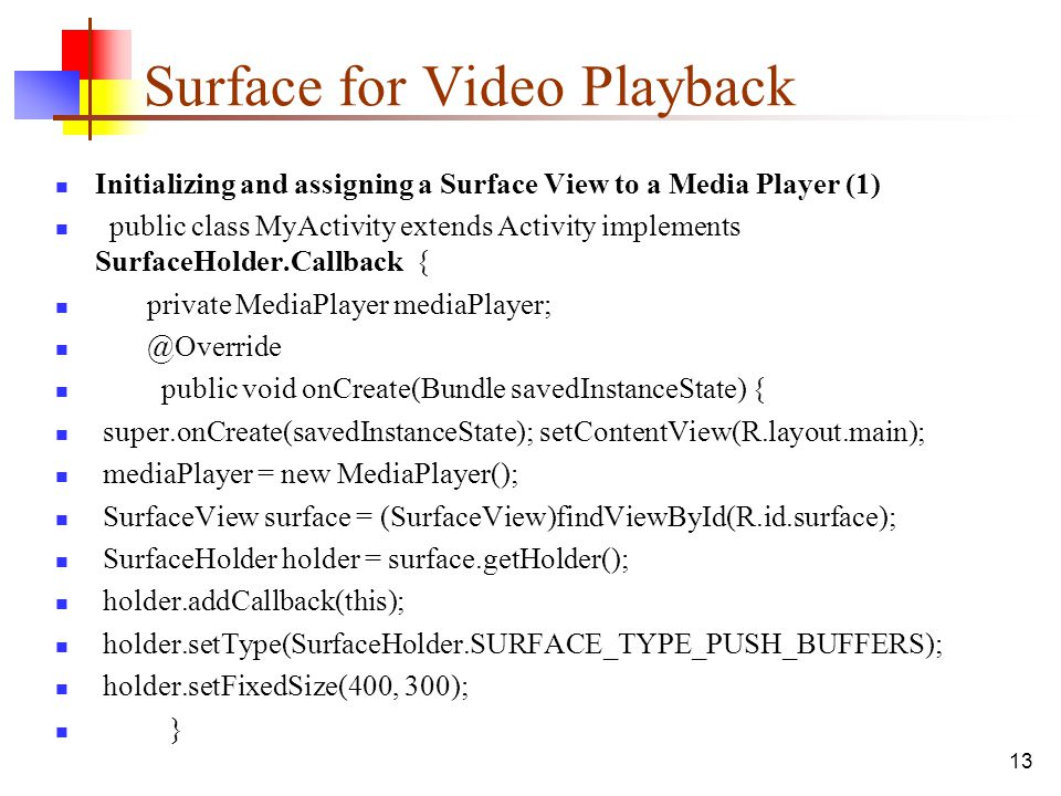 Surface for Video Playback