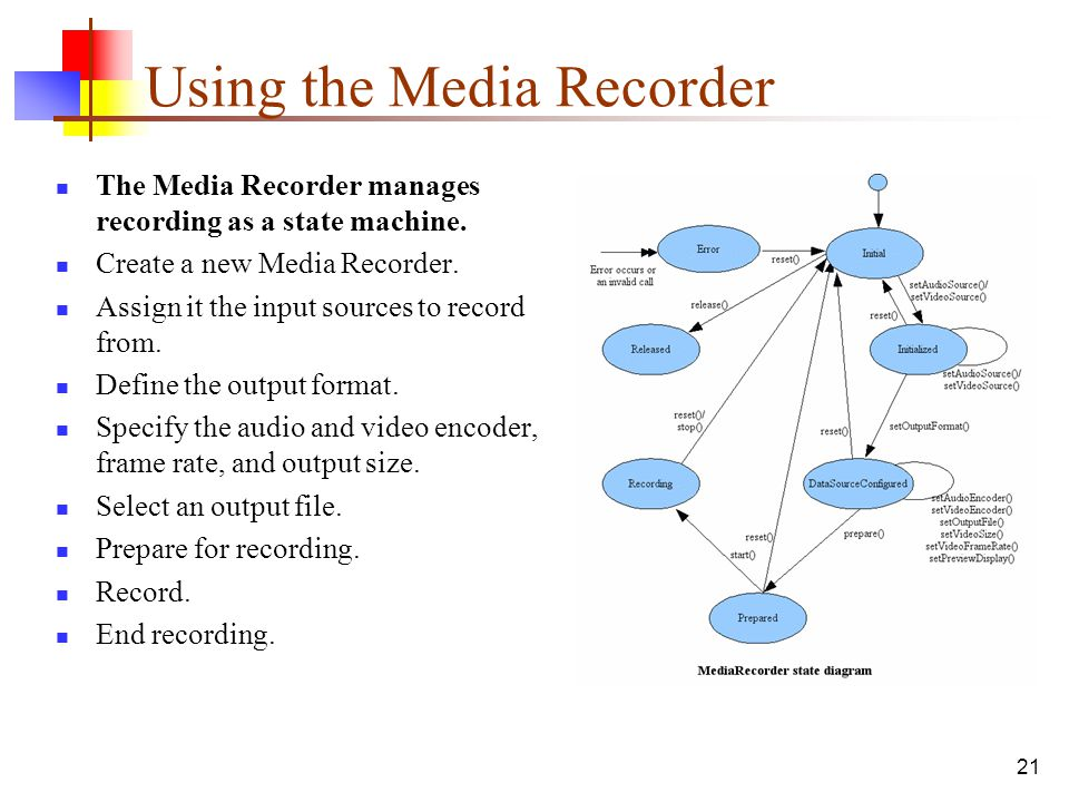 Using the Media Recorder