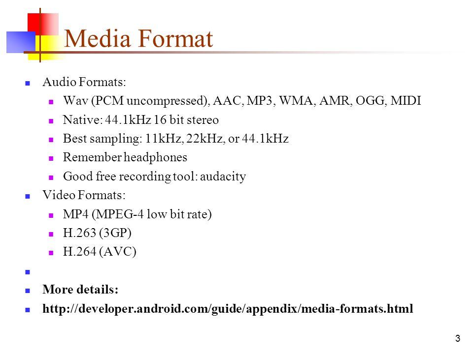 Media Format Audio Formats: