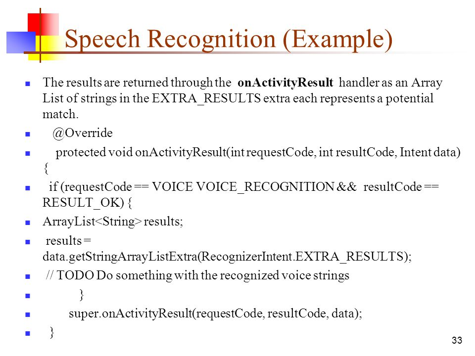 Speech Recognition (Example)