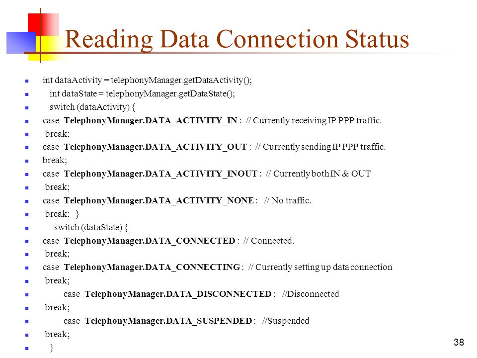 Reading Data Connection Status