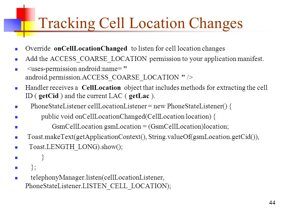 Tracking Cell Location Changes
