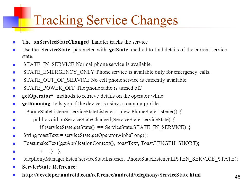 Tracking Service Changes