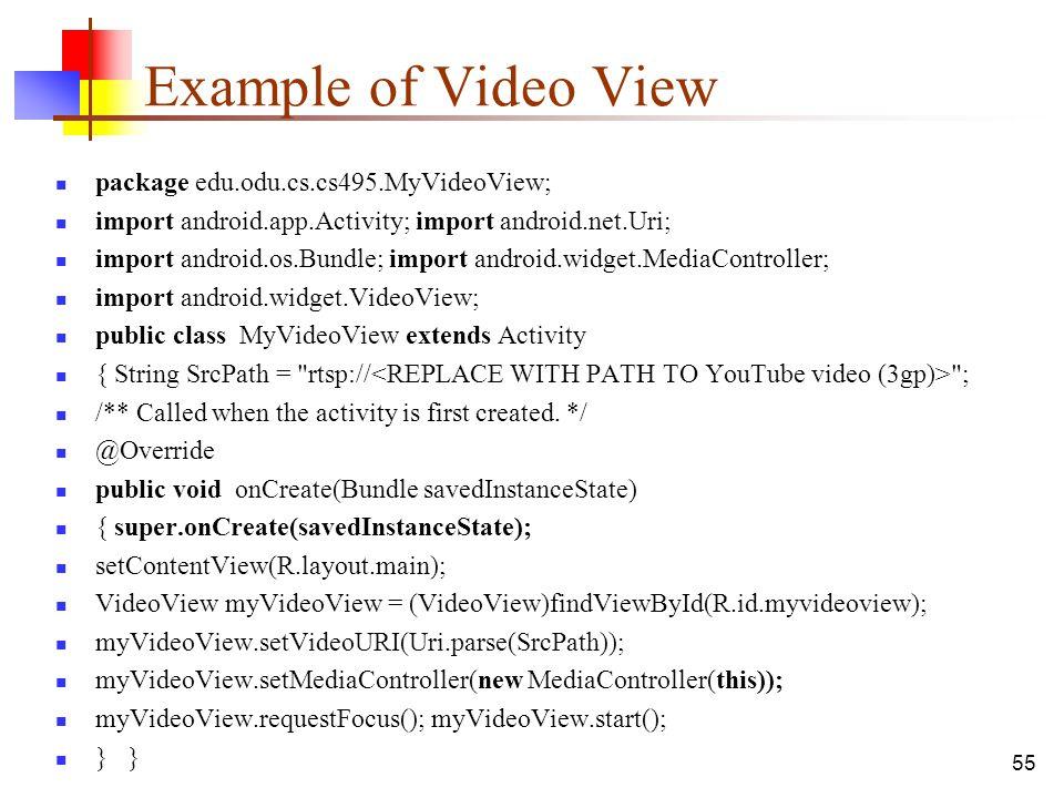 Example of Video View package edu.odu.cs.cs495.MyVideoView;