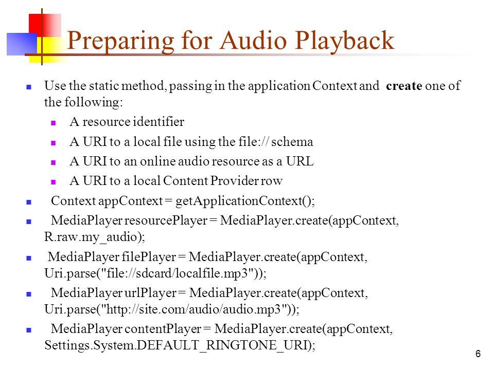 Preparing for Audio Playback