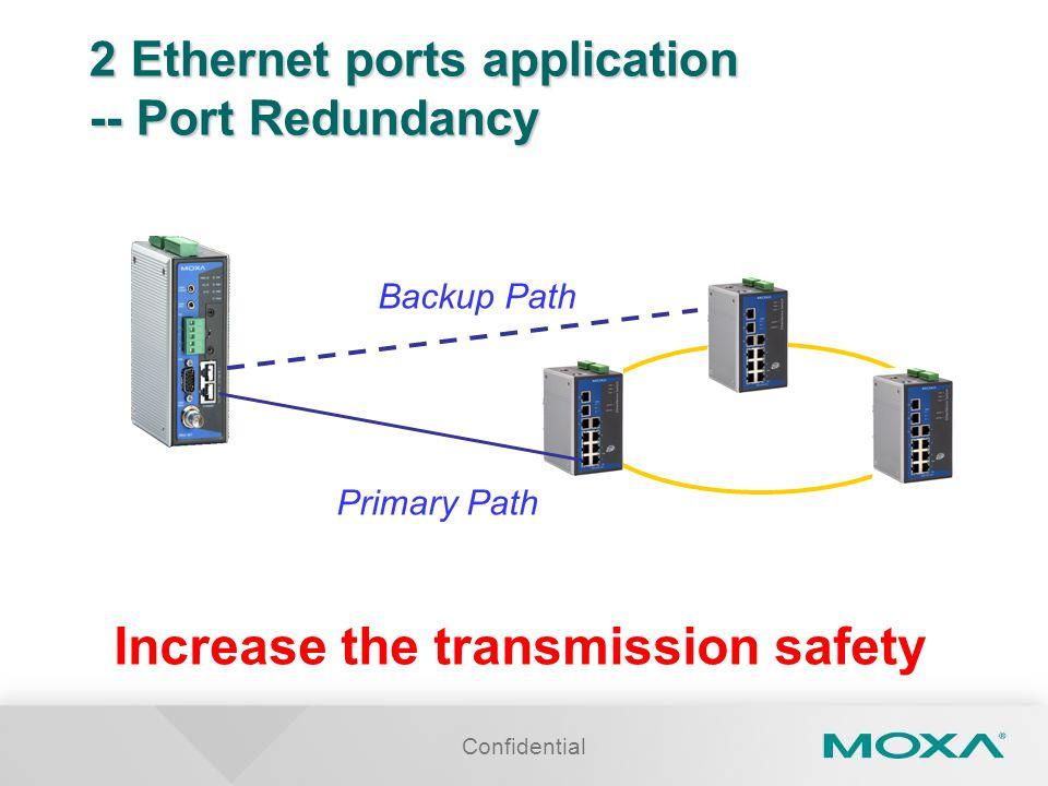 2 Ethernet ports application -- Port Redundancy