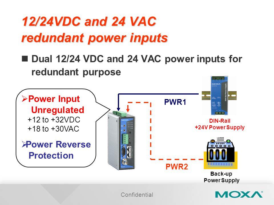 12/24VDC and 24 VAC redundant power inputs