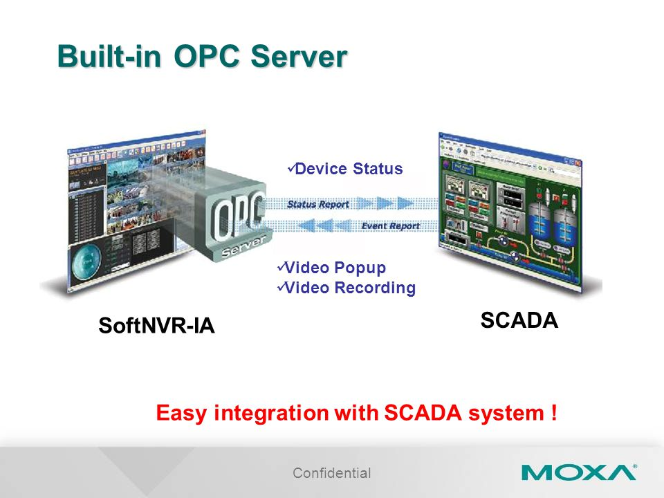 Built-in OPC Server SCADA SoftNVR-IA