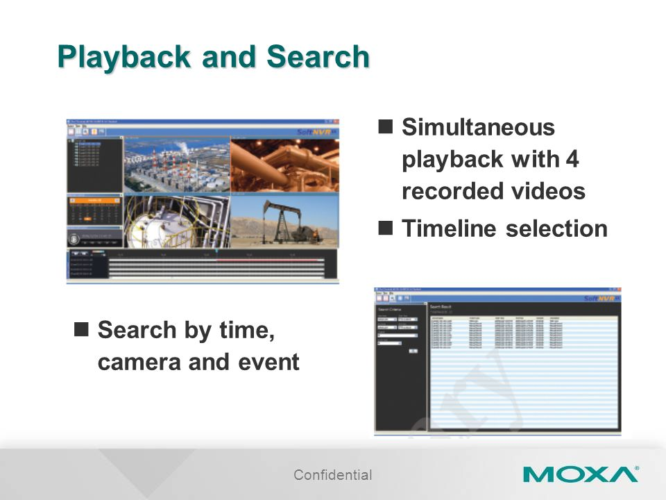 Playback and Search Simultaneous playback with 4 recorded videos