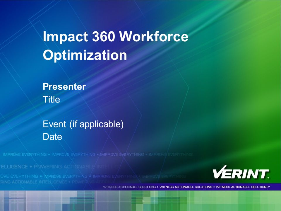 Impact 360 Workforce Optimization Presenter Title Event (if applicable) Date