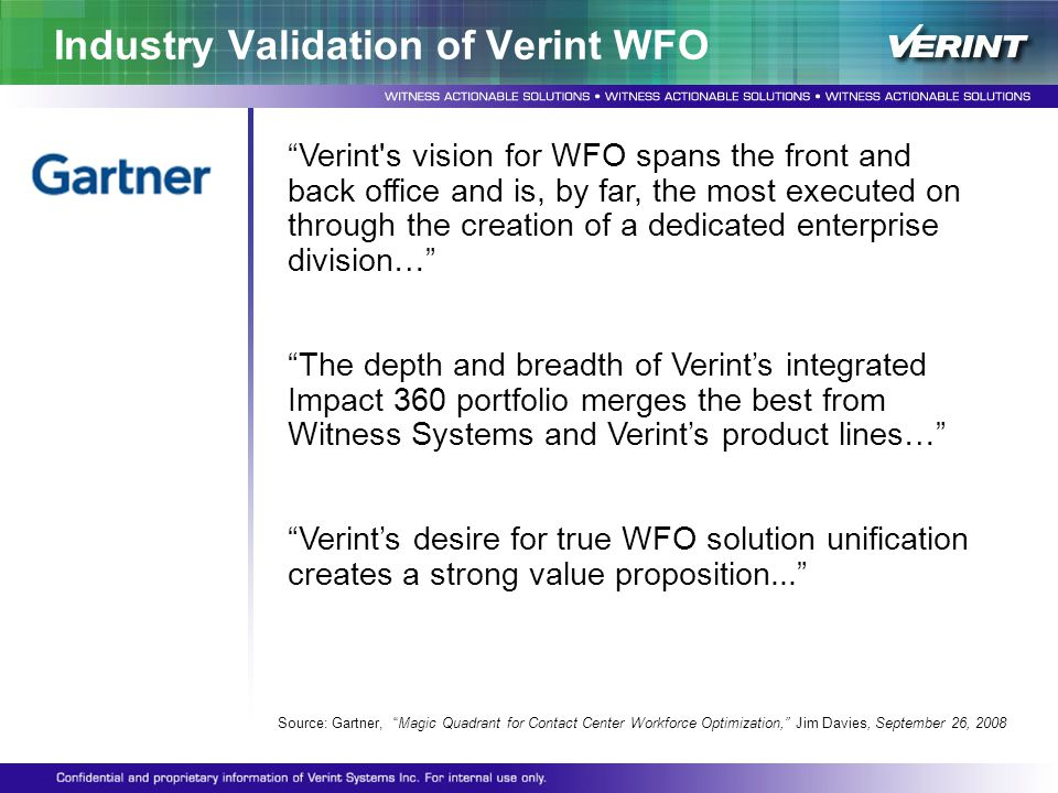 Industry Validation of Verint WFO