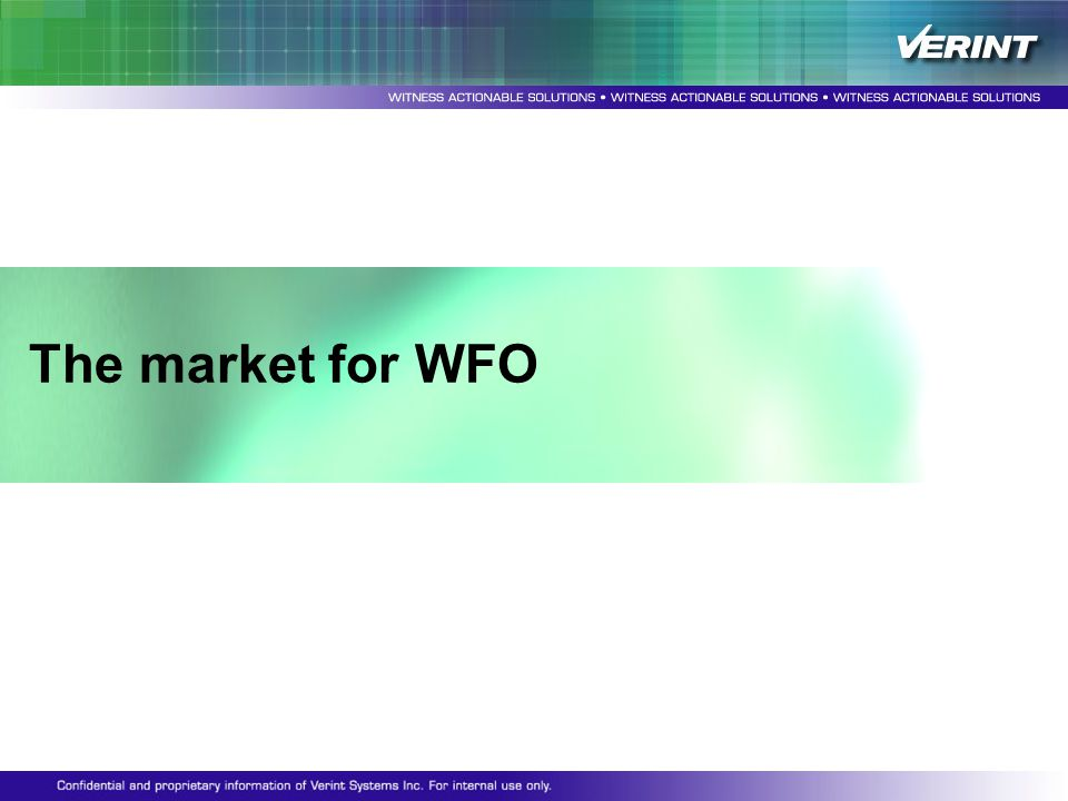The market for WFO