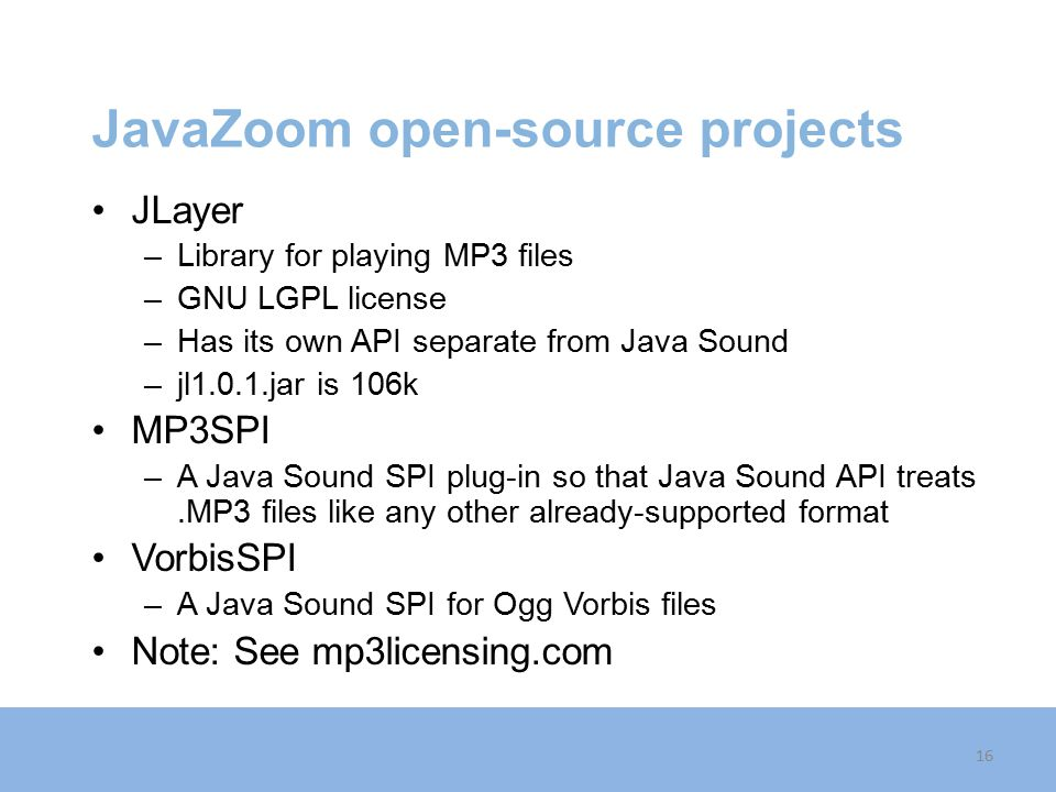 JavaZoom open-source projects