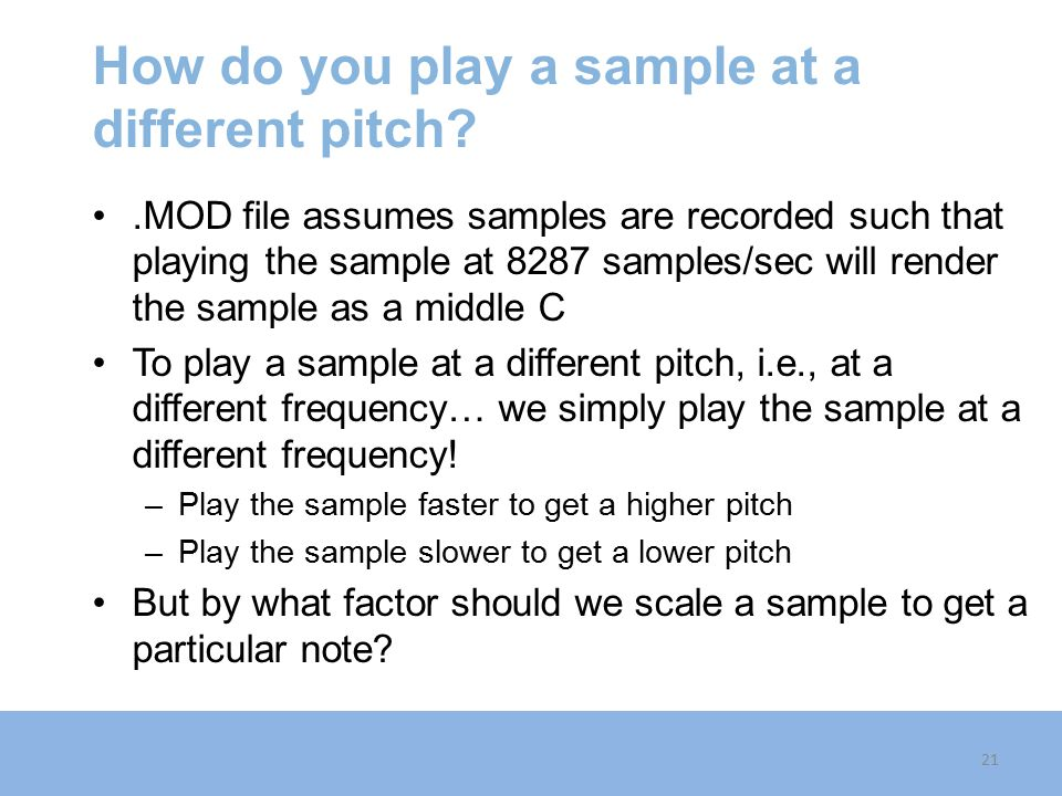 How do you play a sample at a different pitch