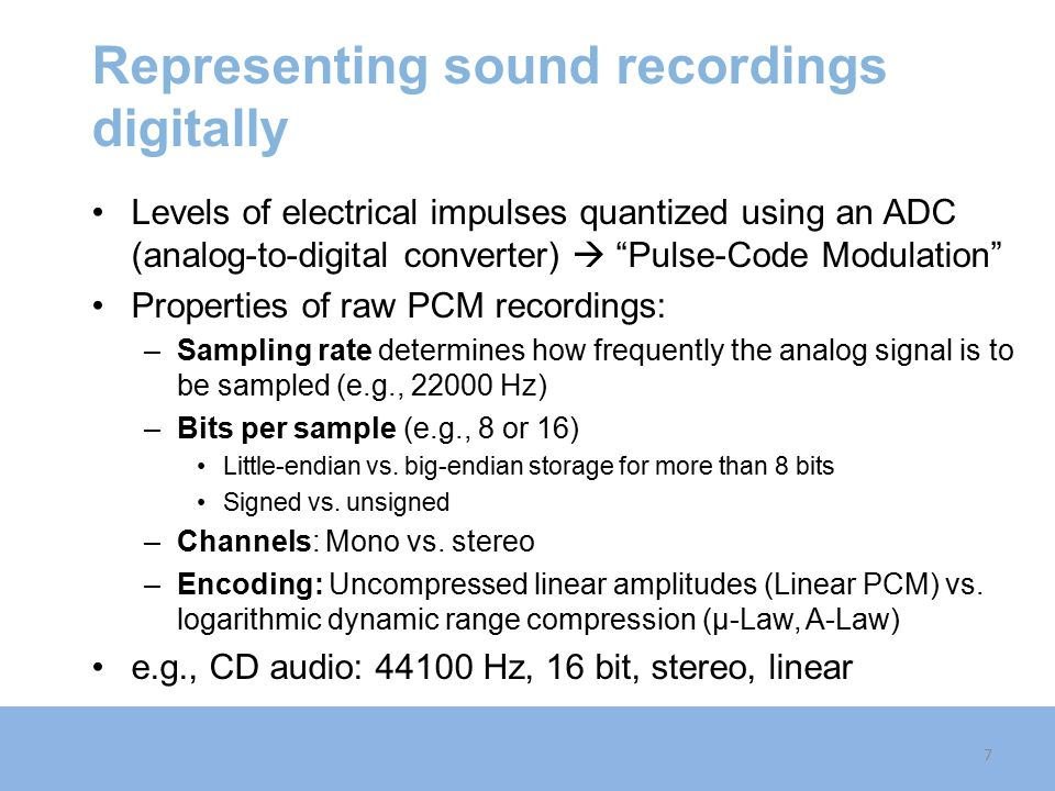 Representing sound recordings digitally