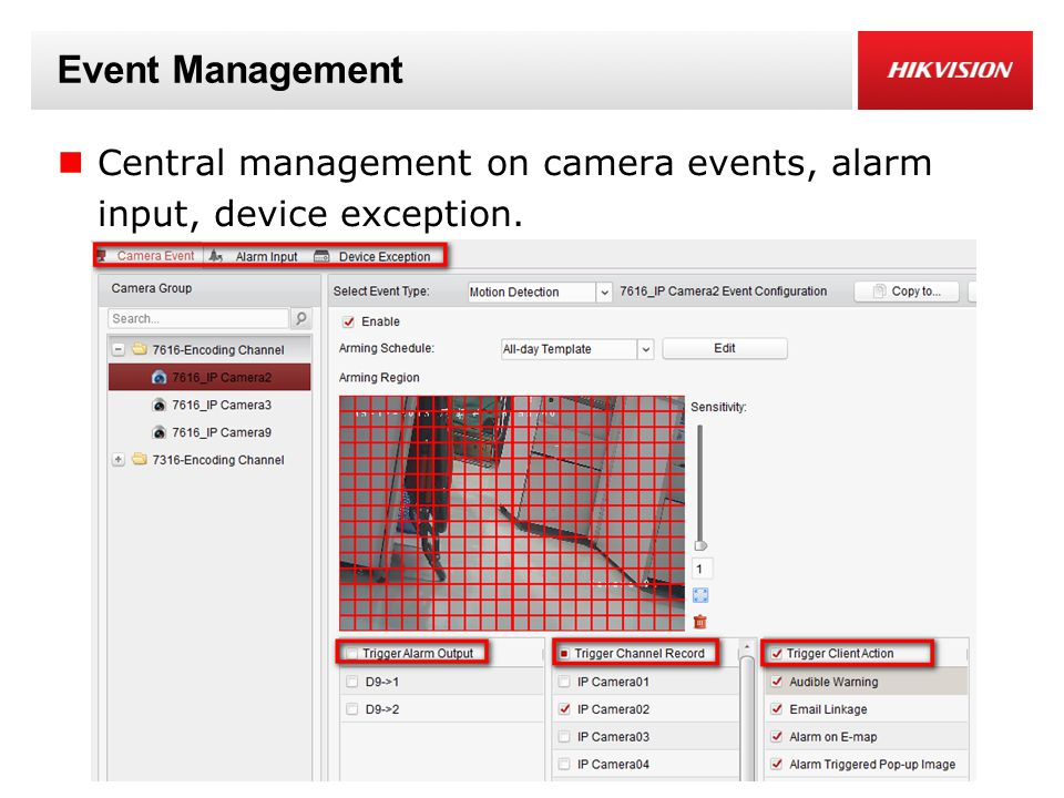 Event Management Central management on camera events, alarm input, device exception.