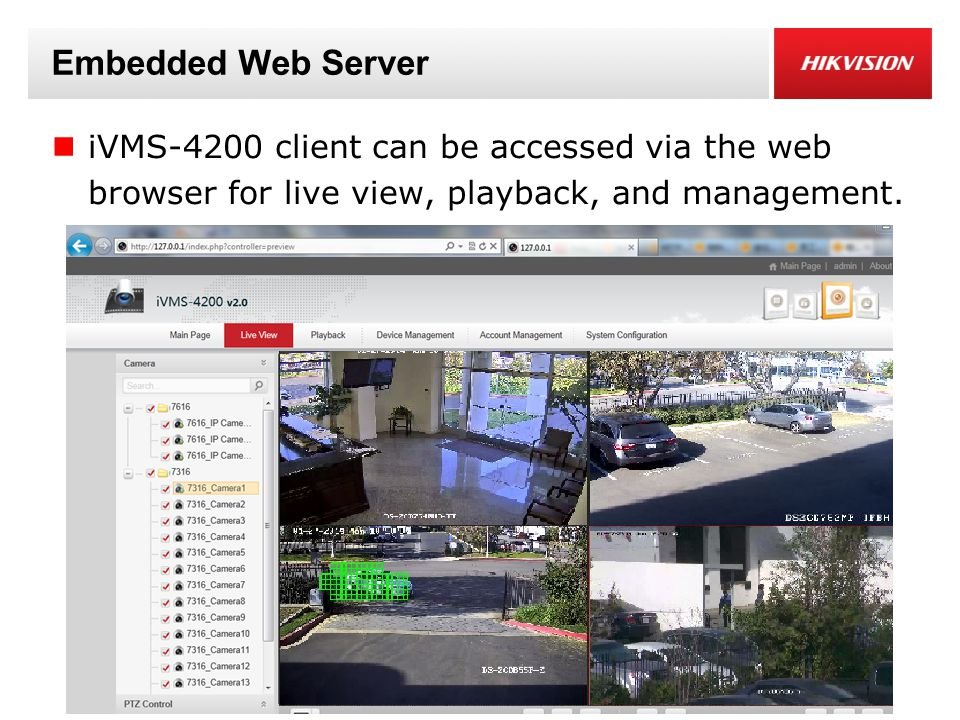 Embedded Web Server iVMS-4200 client can be accessed via the web browser for live view, playback, and management.