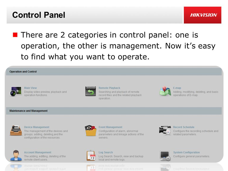 Control Panel There are 2 categories in control panel: one is operation, the other is management.