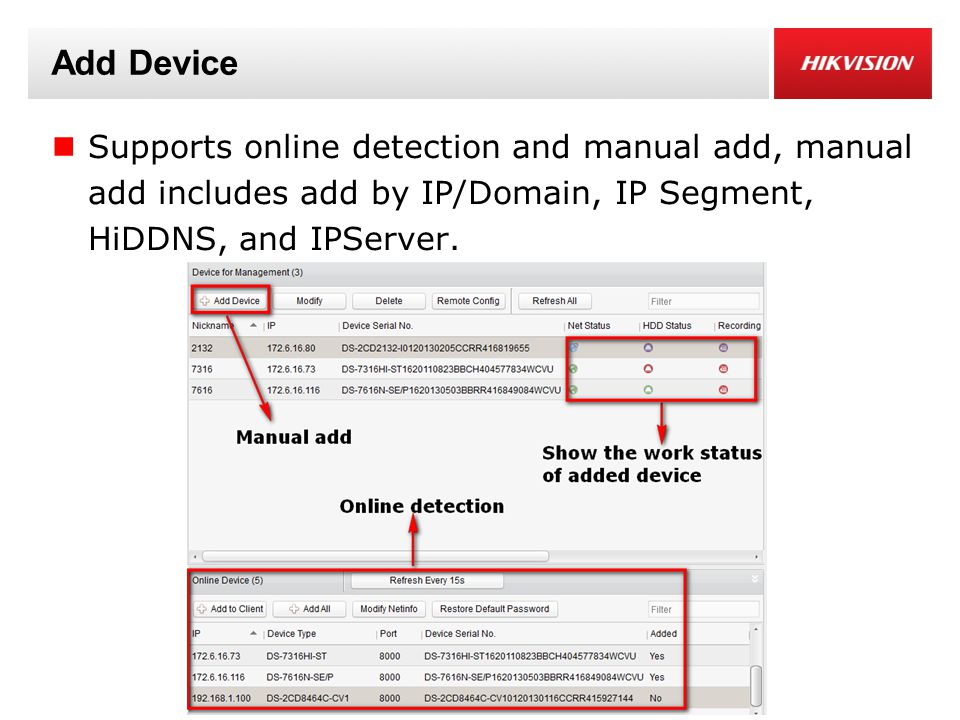 Add Device Supports online detection and manual add, manual add includes add by IP/Domain, IP Segment, HiDDNS, and IPServer.