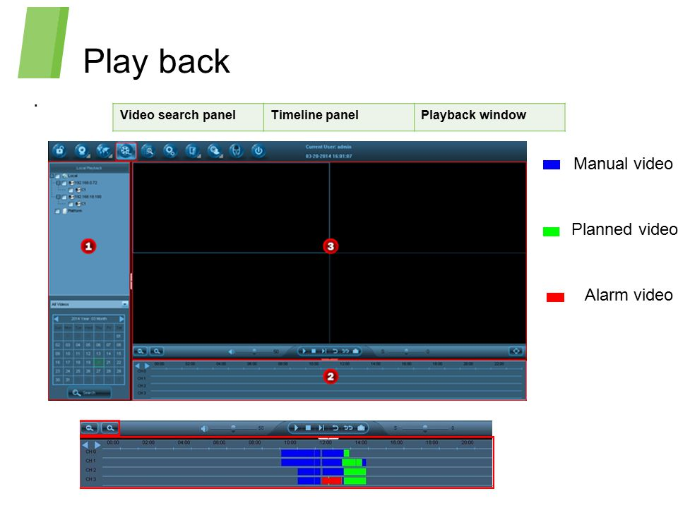 Play back . Manual video Planned video Alarm video Video search panel