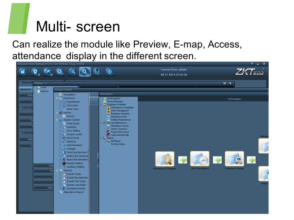 Multi- screen Can realize the module like Preview, E-map, Access, attendance display in the different screen.