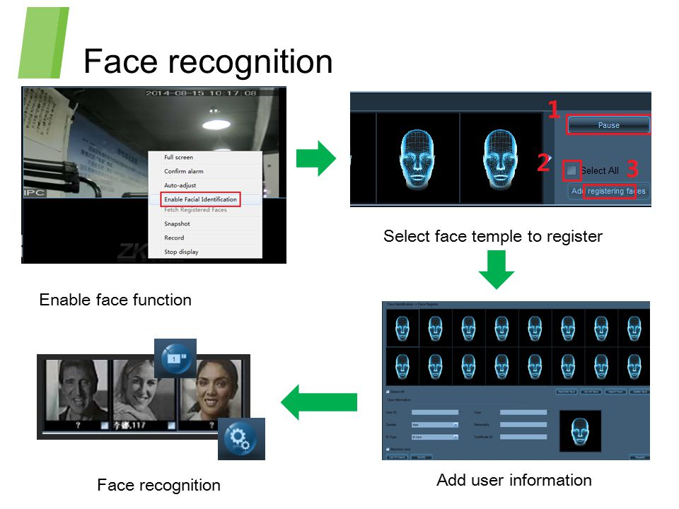 Face recognition Select face temple to register Enable face function