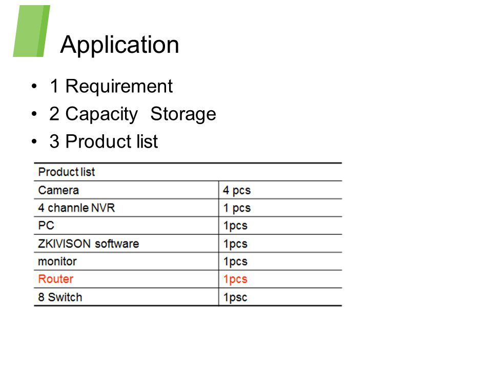 Application 1 Requirement 2 Capacity Storage 3 Product list