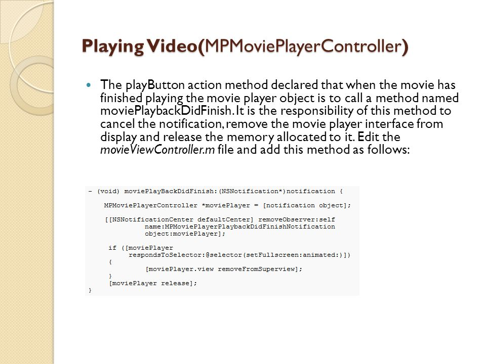 Playing Video(MPMoviePlayerController)