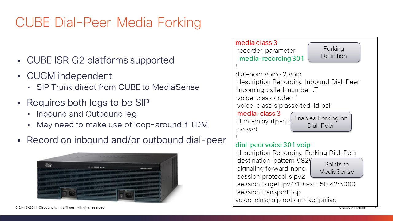 CUBE Dial-Peer Media Forking