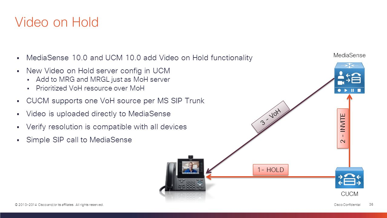 Video on Hold MediaSense. MediaSense 10.0 and UCM 10.0 add Video on Hold functionality. New Video on Hold server config in UCM.