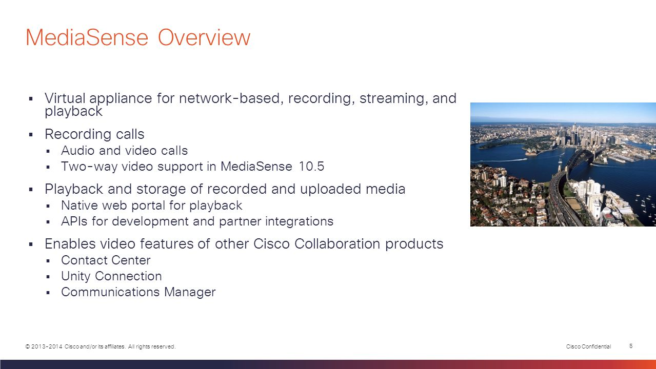 MediaSense Overview Virtual appliance for network-based, recording, streaming, and playback. Recording calls.
